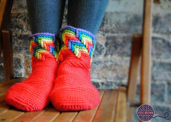 Rainbow Slipper Socks Crochet Pattern